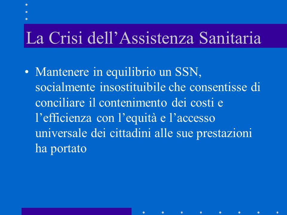La Crisi dellAssistenza Sanitaria Mantenere in equilibrio un SSN, socialmente insostituibile che consentisse di conciliare il contenimento dei costi e