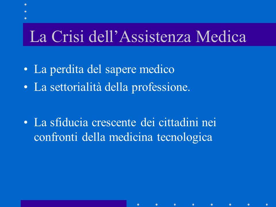 La Crisi dellAssistenza Medica La perdita del sapere medico La settorialità della professione. La sfiducia crescente dei cittadini nei confronti della