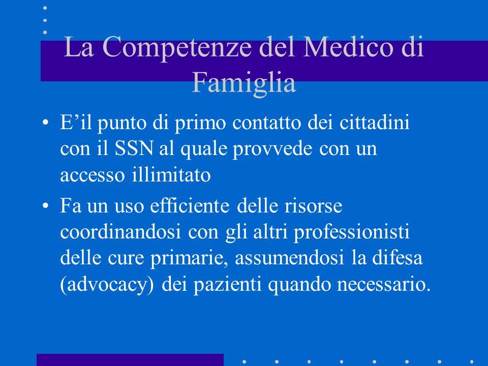 La Competenze del Medico di Famiglia Eil punto di primo contatto dei cittadini con il SSN al quale provvede con un accesso illimitato Fa un uso effici