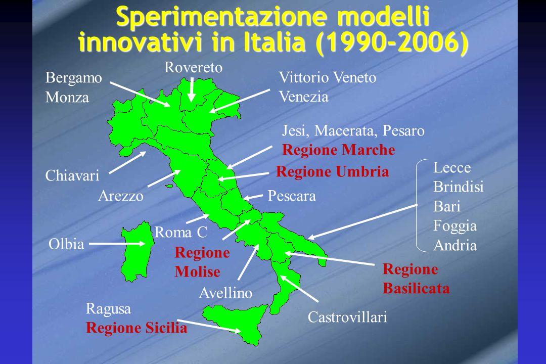 Sperimentazione modelli innovativi in Italia (1990-2006) Bergamo Monza Vittorio Veneto Venezia Chiavari Arezzo Regione Umbria Roma C Castrovillari Rag