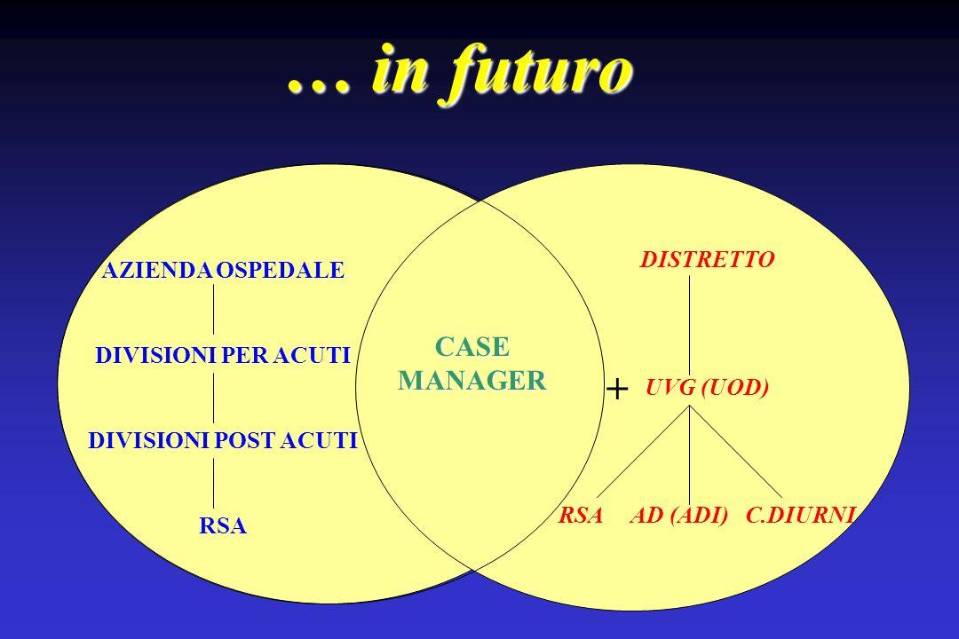 … in futuro AZIENDA OSPEDALE DIVISIONI PER ACUTI DIVISIONI POST ACUTI RSA DISTRETTO UVG (UOD) RSA AD (ADI) C.DIURNI CASE MANAGER +
