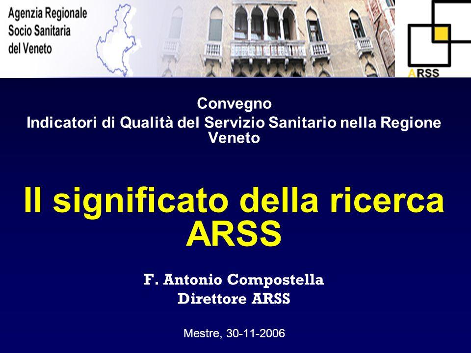 Convegno Indicatori di Qualità del Servizio Sanitario nella Regione Veneto Il significato della ricerca ARSS F. Antonio Compostella Direttore ARSS Mes