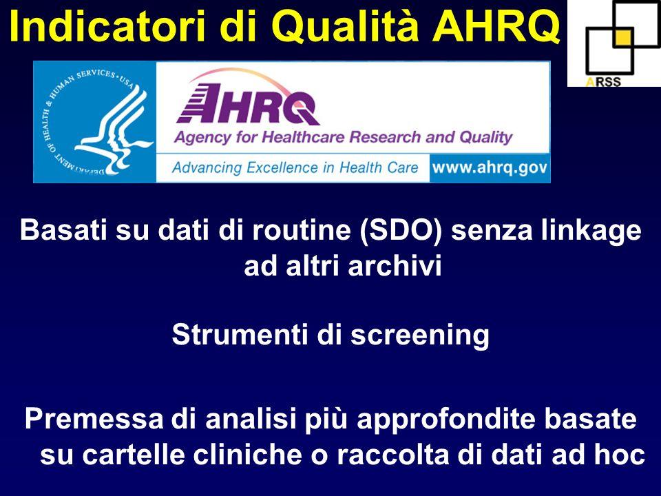 Indicatori di Qualità AHRQ Basati su dati di routine (SDO) senza linkage ad altri archivi Strumenti di screening Premessa di analisi più approfondite
