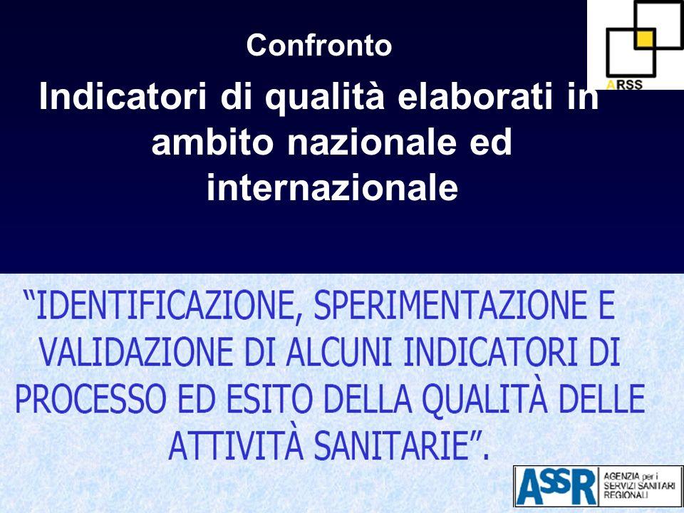 Confronto Indicatori di qualità elaborati in ambito nazionale ed internazionale