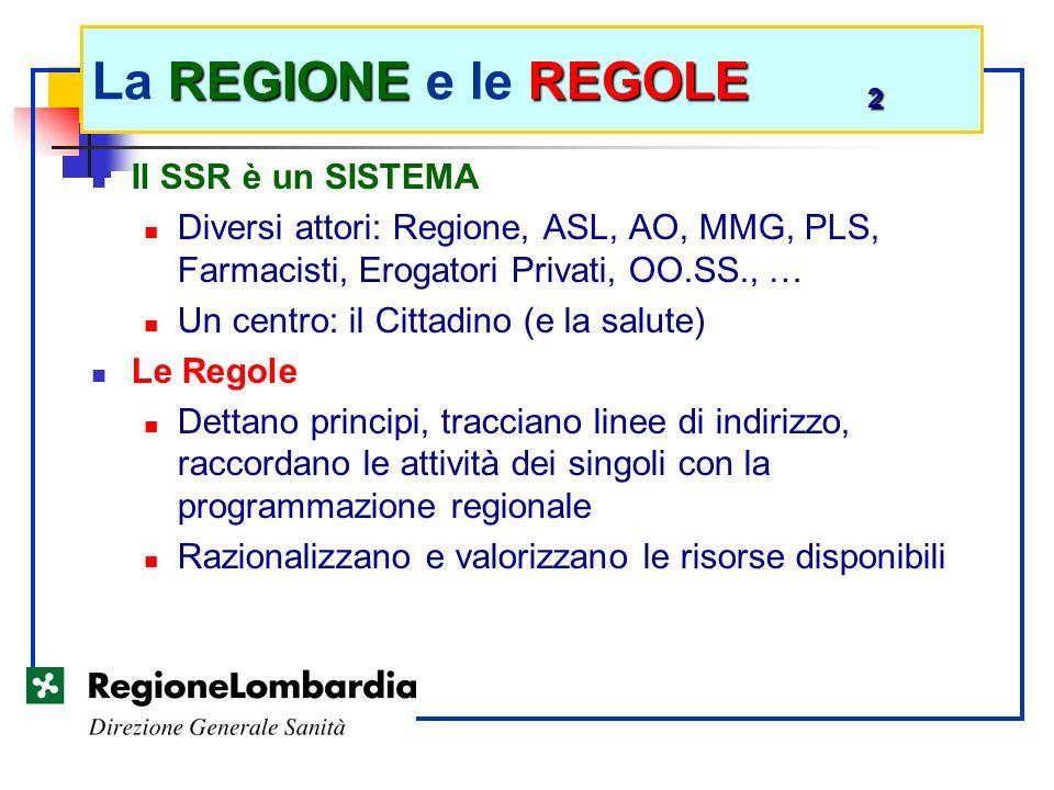 Il SSR è un SISTEMA Diversi attori: Regione, ASL, AO, MMG, PLS, Farmacisti, Erogatori Privati, OO.SS., … Un centro: il Cittadino (e la salute) Le Rego