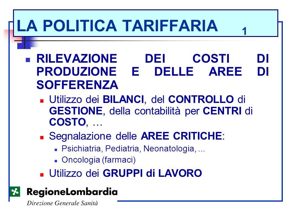 LA POLITICA TARIFFARIA 1 RILEVAZIONE DEI COSTI DI PRODUZIONE E DELLE AREE DI SOFFERENZA Utilizzo dei BILANCI, del CONTROLLO di GESTIONE, della contabi