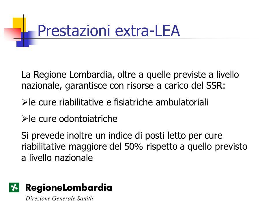 Prestazioni extra-LEA La Regione Lombardia, oltre a quelle previste a livello nazionale, garantisce con risorse a carico del SSR: le cure riabilitativ