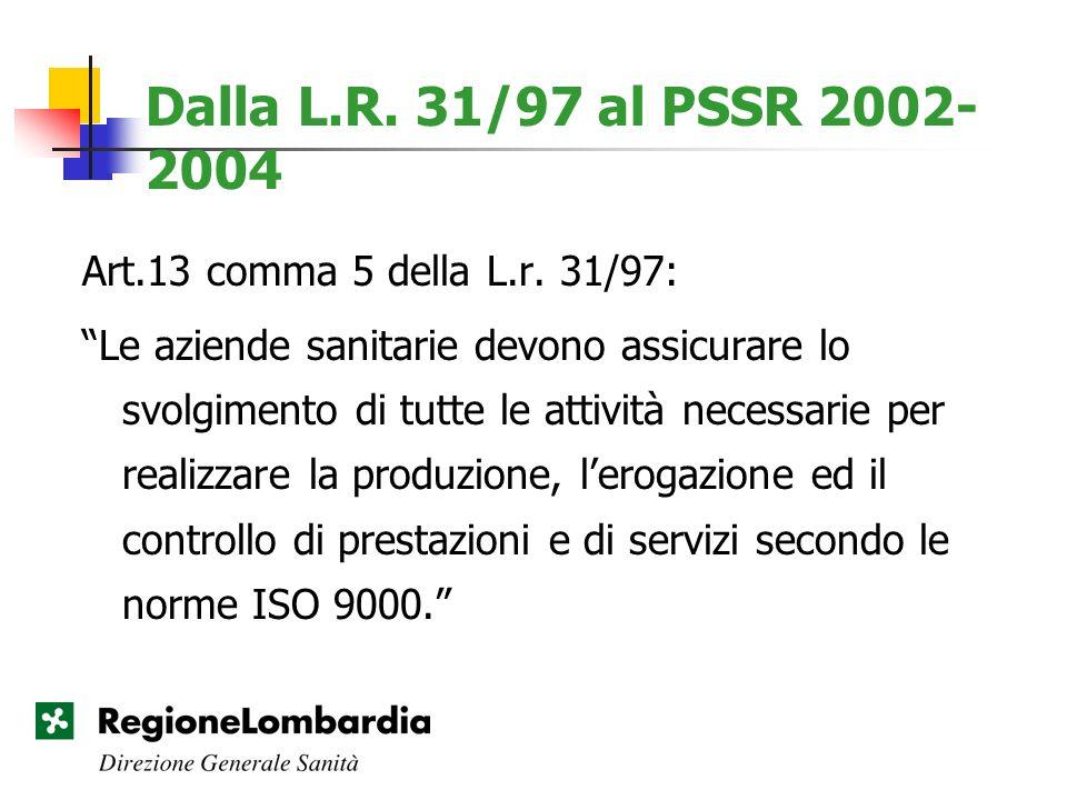 Dalla L.R. 31/97 al PSSR 2002- 2004 Art.13 comma 5 della L.r. 31/97: Le aziende sanitarie devono assicurare lo svolgimento di tutte le attività necess