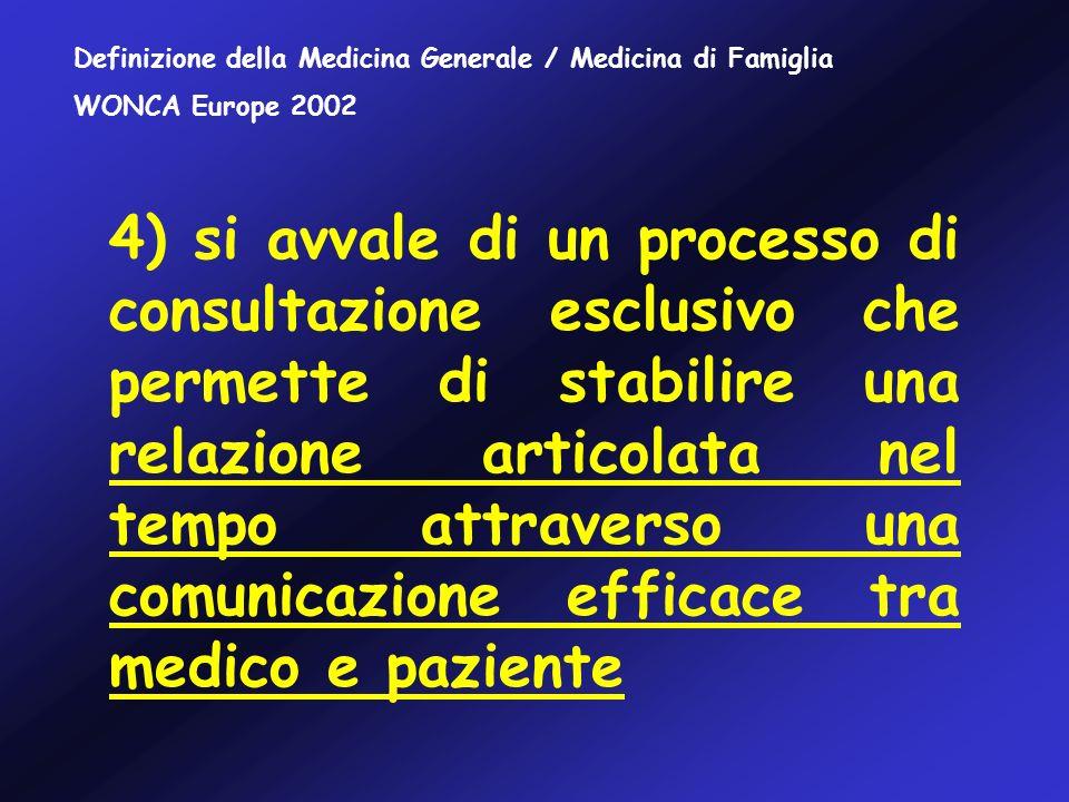 4) si avvale di un processo di consultazione esclusivo che permette di stabilire una relazione articolata nel tempo attraverso una comunicazione efficace tra medico e paziente Definizione della Medicina Generale / Medicina di Famiglia WONCA Europe 2002