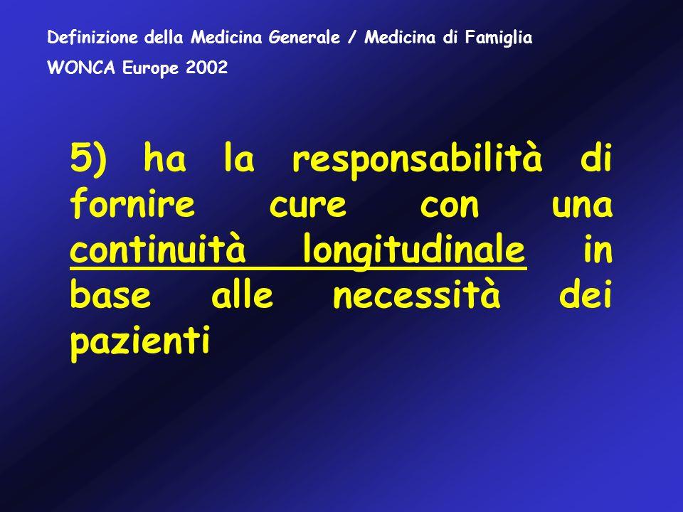 1.Gestione delle cure primarie (1,2) 2.Cure centrate sulla persona (3,4,5) 3.Abilità specifiche nel problem solving (6,7) 4.Approccio integrato (8,9) 5.Orientamento alla comunità (10) 6.Utilizzo di un modello olistico (11) Core competences della Medicina Generale / Medicina di Famiglia WONCA Europe 2002