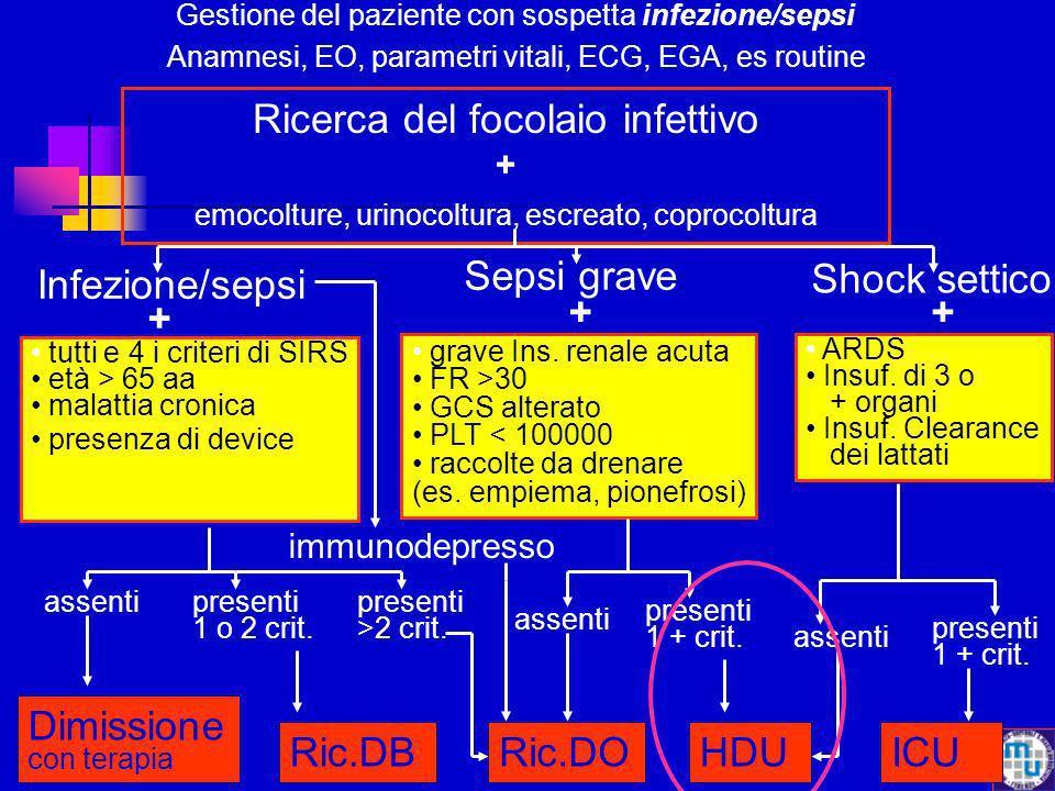 Gestione del paziente con sospetta infezione/sepsi Anamnesi, EO, parametri vitali, ECG, EGA, es routine Ricerca del focolaio infettivo + emocolture, u