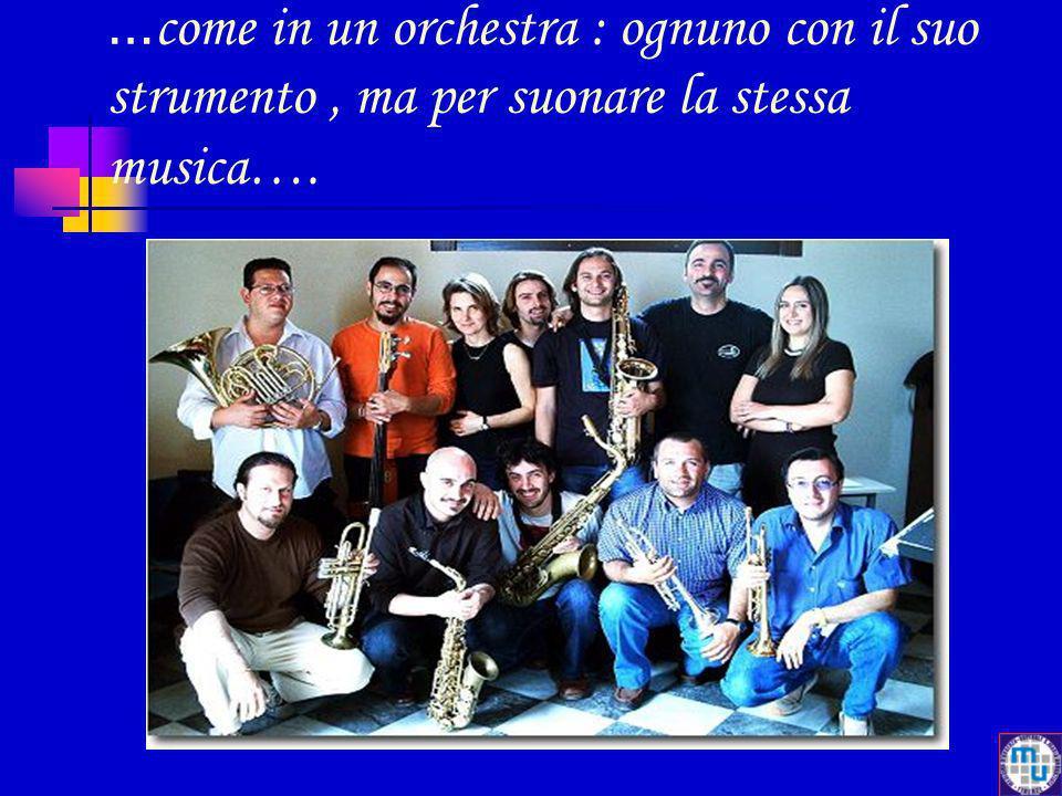 … come in un orchestra : ognuno con il suo strumento, ma per suonare la stessa musica….