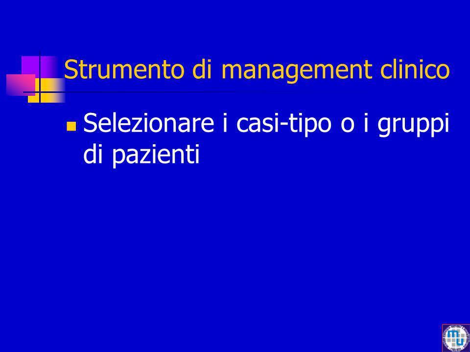 Strumento di management clinico Selezionare i casi-tipo o i gruppi di pazienti