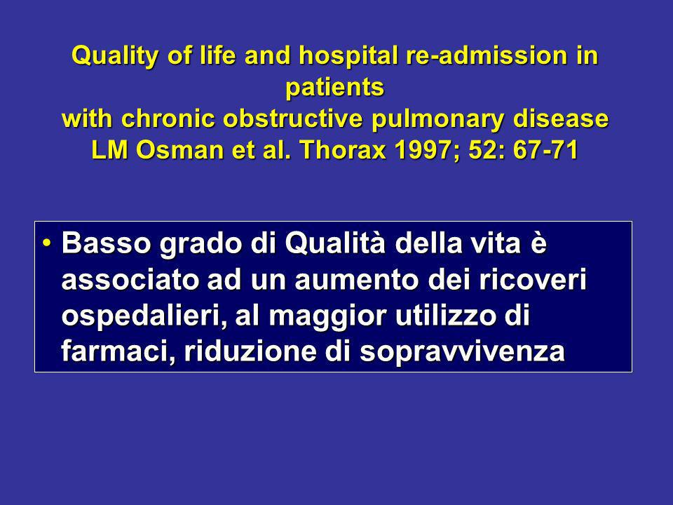 Quality of life and hospital re-admission in patients with chronic obstructive pulmonary disease LM Osman et al. Thorax 1997; 52: 67-71 Basso grado di
