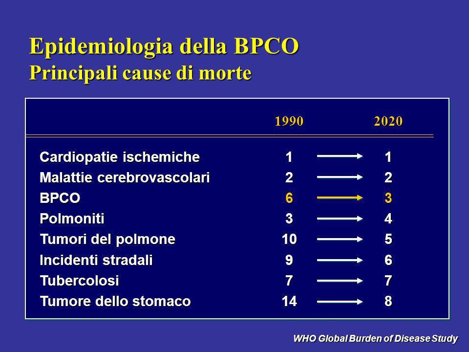 BPCO: unica causa di mortalità in aumento Stati Uniti: proporzione della frequenza dal 1965 al 1998 Vital Statistic of the US (NHS) mod., Anzueto 1999 coronaropatie -59% infarto -64% ictus -35% altre cause -7% BPCO +163% 0 0,5 1,5 1,0 2,0 2,5 3,0 variazione proporzionale vs frequenza del 1966