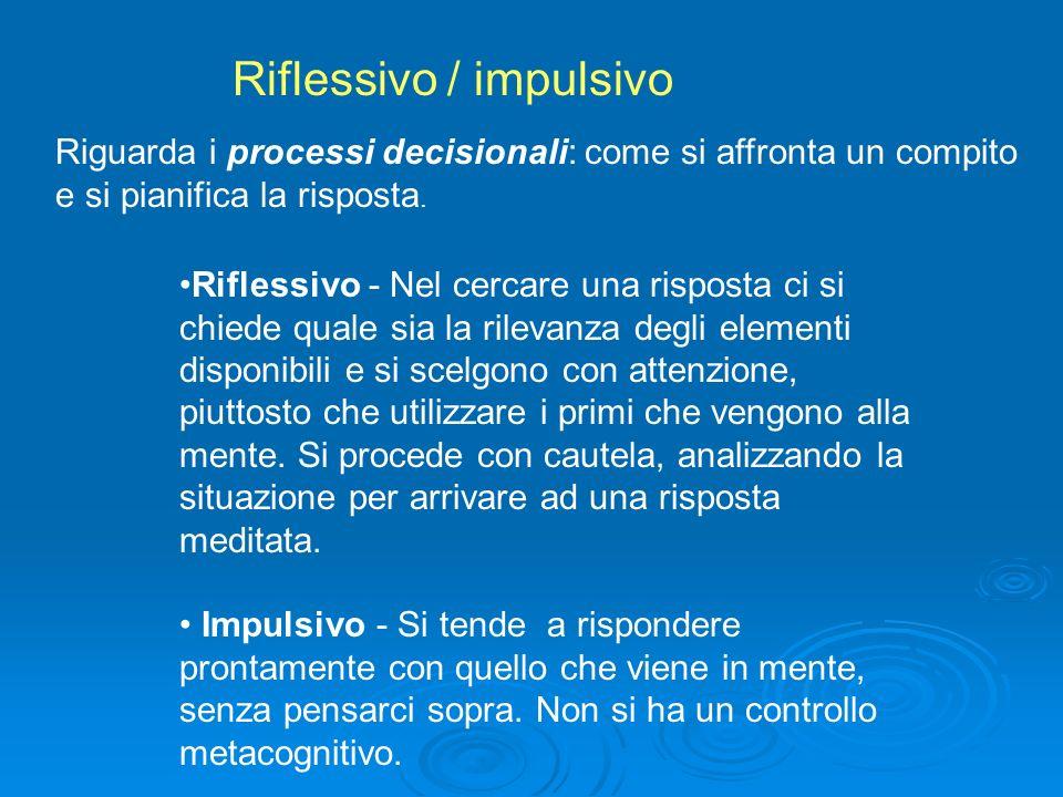 Autonomo - Le situazioni sono affrontate in maniera personale, evitando di ripetere comportamenti e risposte date da altri.