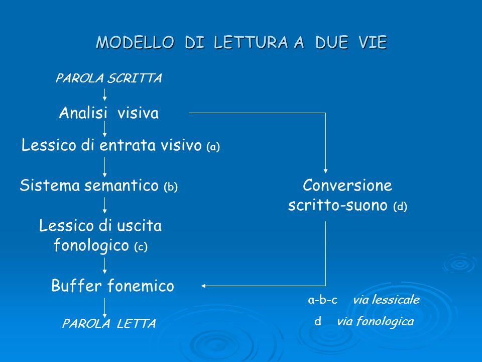 MODELLO DI LETTURA A DUE VIE Analisi visiva Lessico di entrata visivo (a) Sistema semantico (b) Lessico di uscita fonologico (c) Buffer fonemico PAROL
