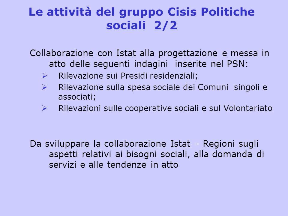 Le attività del gruppo Cisis Politiche sociali 2/2 Collaborazione con Istat alla progettazione e messa in atto delle seguenti indagini inserite nel PS
