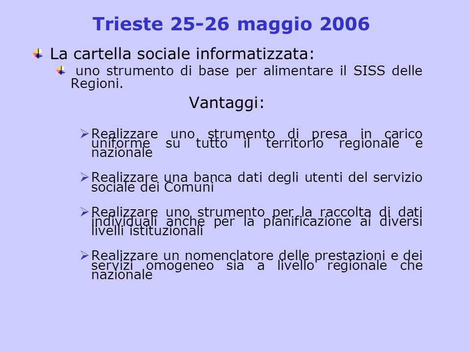 Trieste 25-26 maggio 2006 La cartella sociale informatizzata: uno strumento di base per alimentare il SISS delle Regioni. Vantaggi: Realizzare uno str