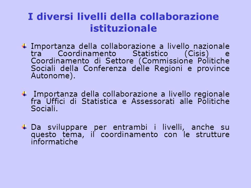I diversi livelli della collaborazione istituzionale Importanza della collaborazione a livello nazionale tra Coordinamento Statistico (Cisis) e Coordi