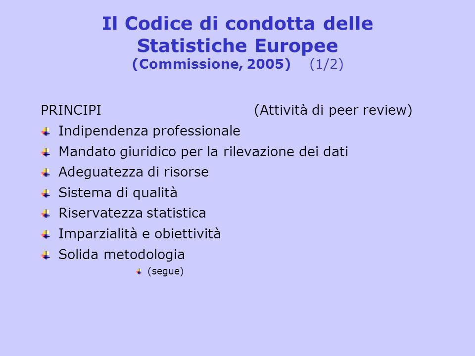 Il Codice di condotta delle Statistiche Europee (Commissione, 2005) (2/2) Onere non eccessivo sui rispondenti Efficienza rispetto al costo Pertinenza Accuratezza e attendibilità Tempestività e puntualità Coerenza e comparabilità Accessibilità e chiarezza