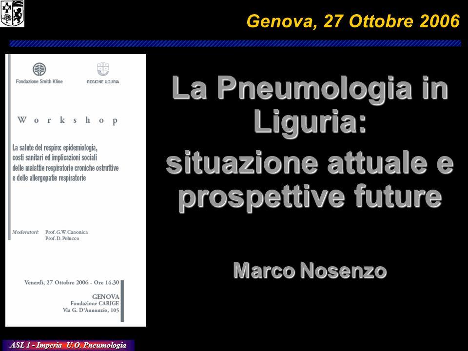 ASL 1 - Imperia U.O. Pneumologia La Pneumologia in Liguria: situazione attuale e prospettive future Marco Nosenzo Genova, 27 Ottobre 2006