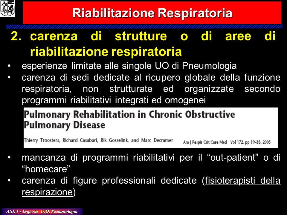 ASL 1 - Imperia U.O. Pneumologia 2.carenza di strutture o di aree di riabilitazione respiratoria Riabilitazione Respiratoria esperienze limitate alle