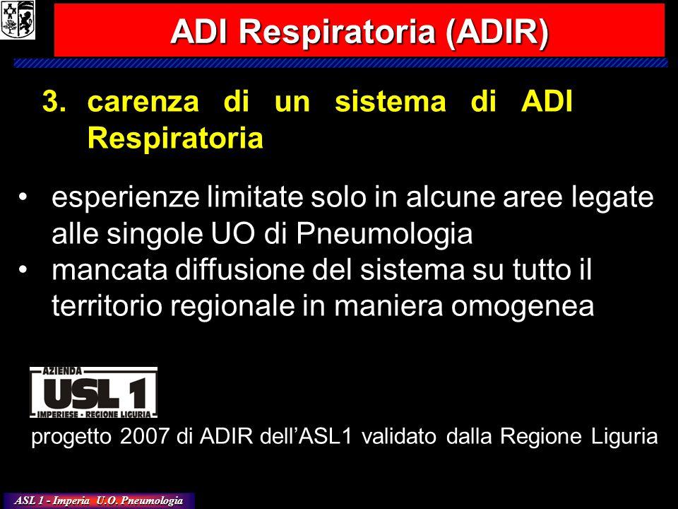 ASL 1 - Imperia U.O. Pneumologia 3.carenza di un sistema di ADI Respiratoria esperienze limitate solo in alcune aree legate alle singole UO di Pneumol