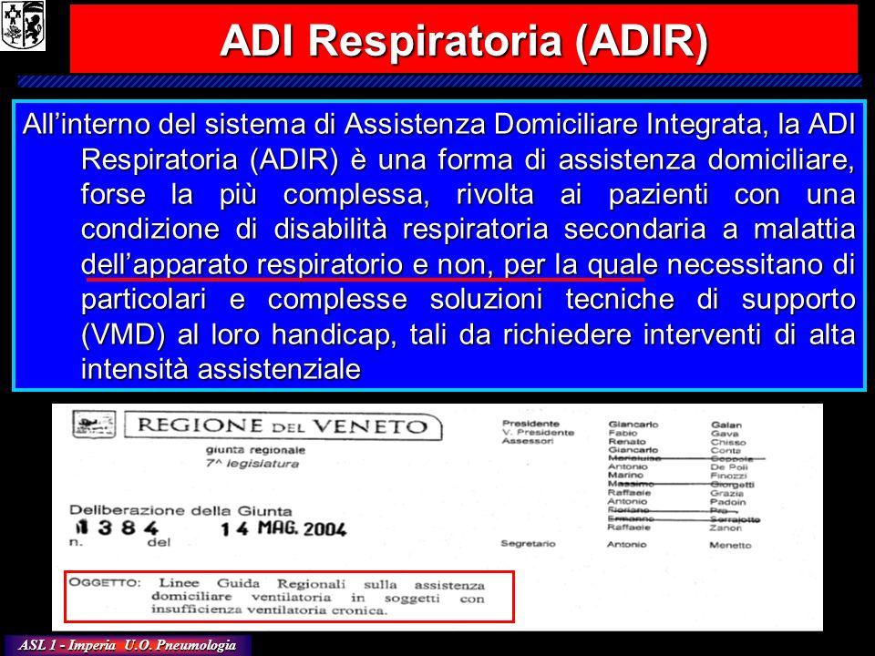 ASL 1 - Imperia U.O. Pneumologia ADI Respiratoria (ADIR) Allinterno del sistema di Assistenza Domiciliare Integrata, la ADI Respiratoria (ADIR) è una