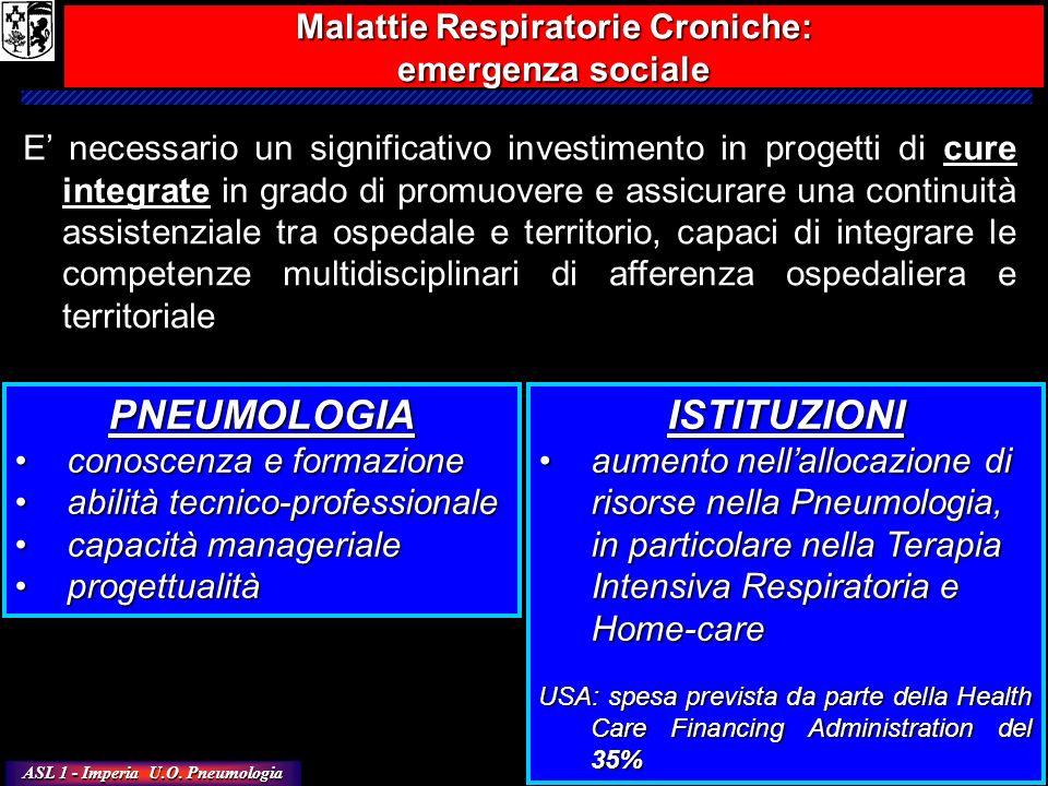 ASL 1 - Imperia U.O. Pneumologia E necessario un significativo investimento in progetti di cure integrate in grado di promuovere e assicurare una cont