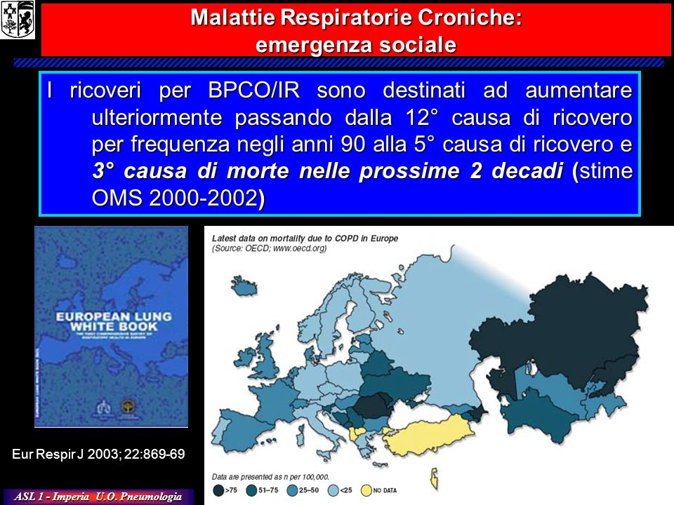 ASL 1 - Imperia U.O. Pneumologia I ricoveri per BPCO/IR sono destinati ad aumentare ulteriormente passando dalla 12° causa di ricovero per frequenza n