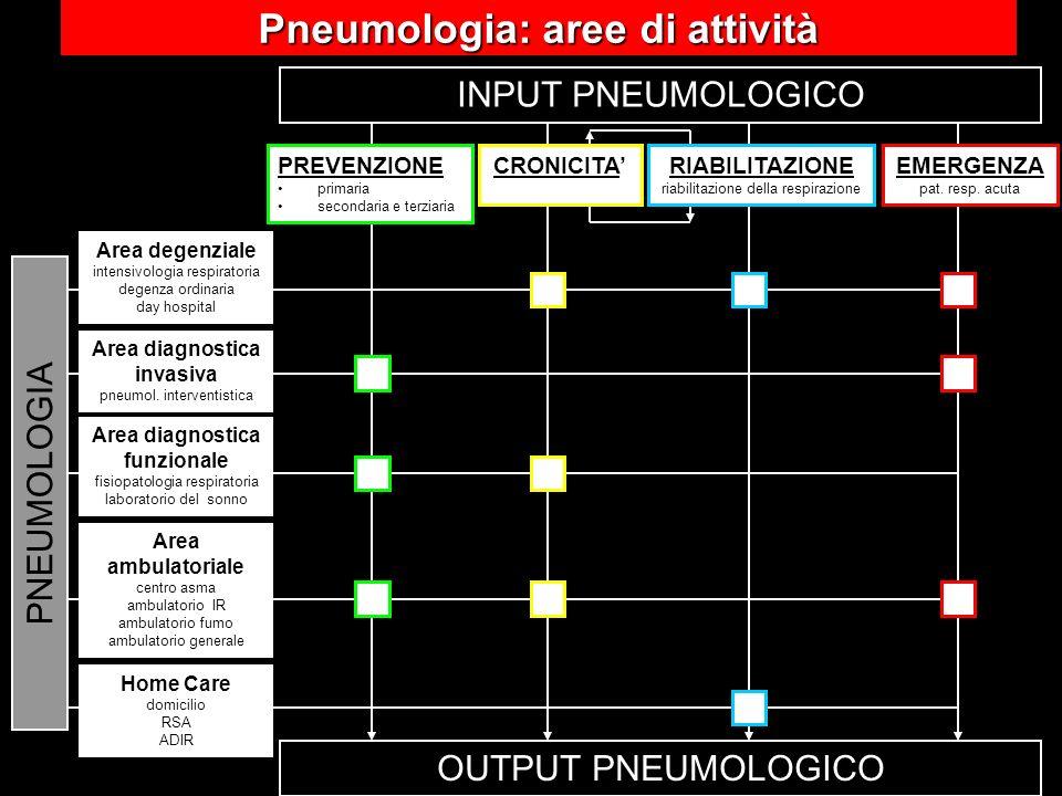 OUTPUT PNEUMOLOGICO INPUT PNEUMOLOGICO RIABILITAZIONE riabilitazione della respirazione PREVENZIONE primaria secondaria e terziaria CRONICITAEMERGENZA