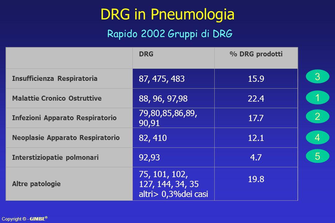 Copyright © - GIMBE DRG in Pneumologia Rapido 2002 Gruppi di DRG DRG% DRG prodotti Insufficienza Respiratoria 87, 475, 48315.9 Malattie Cronico Ostruttive 88, 96, 97,9822.4 Infezioni Apparato Respiratorio 79,80,85,86,89, 90,91 17.7 Neoplasie Apparato Respiratorio 82, 41012.1 Interstiziopatie polmonari 92,934.7 Altre patologie 75, 101, 102, 127, 144, 34, 35 altri> 0,3%dei casi 19.8 1 4 5 2 3