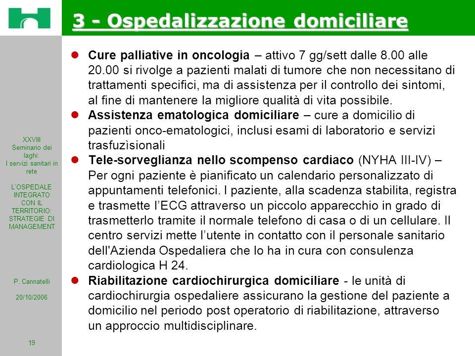 XXVIII Seminario dei laghi: I servizi sanitari in rete LOSPEDALE INTEGRATO CON IL TERRITORIO: STRATEGIE DI MANAGEMENT P. Cannatelli 20/10/2006 19 3 -
