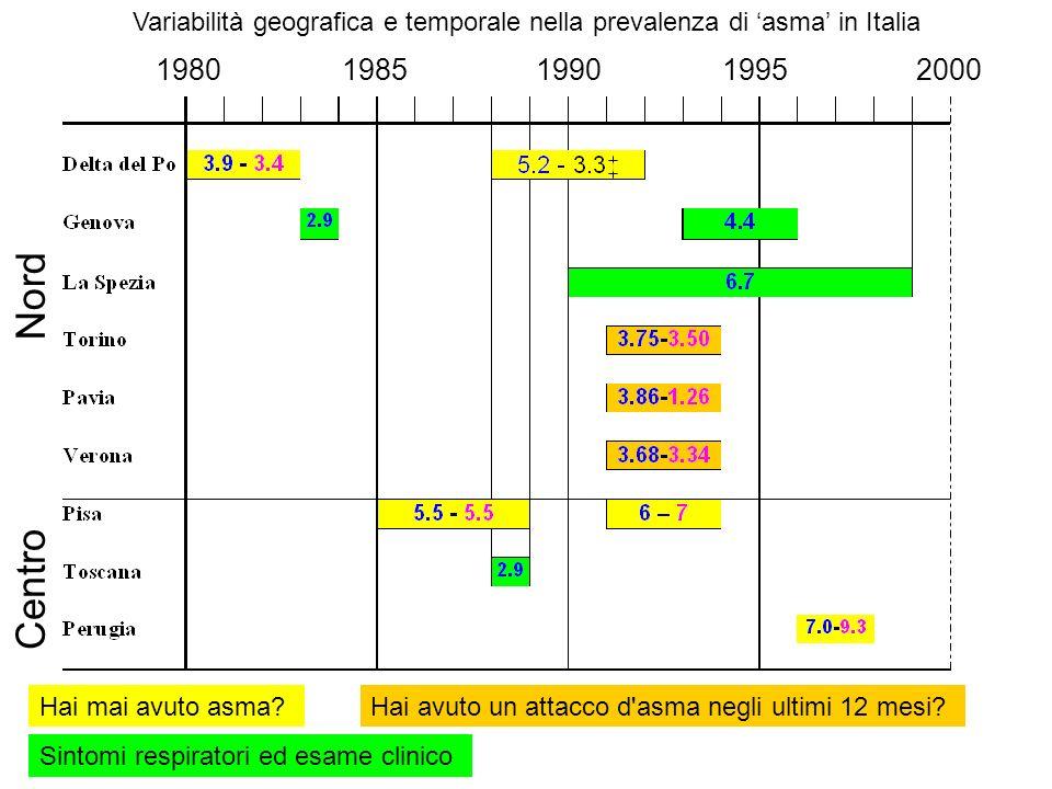 1980 1985 1990 1995 2000 Centro Nord Variabilità geografica e temporale nella prevalenza di asma in Italia Hai mai avuto asma?Hai avuto un attacco d'a