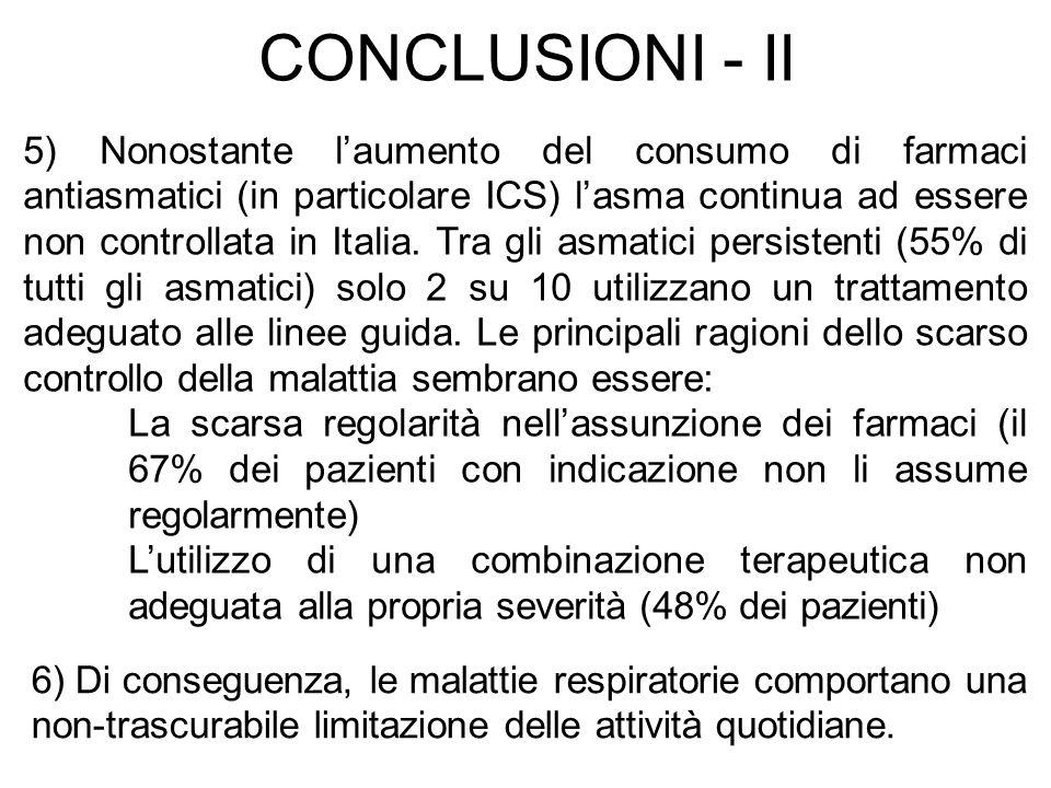 5) Nonostante laumento del consumo di farmaci antiasmatici (in particolare ICS) lasma continua ad essere non controllata in Italia. Tra gli asmatici p