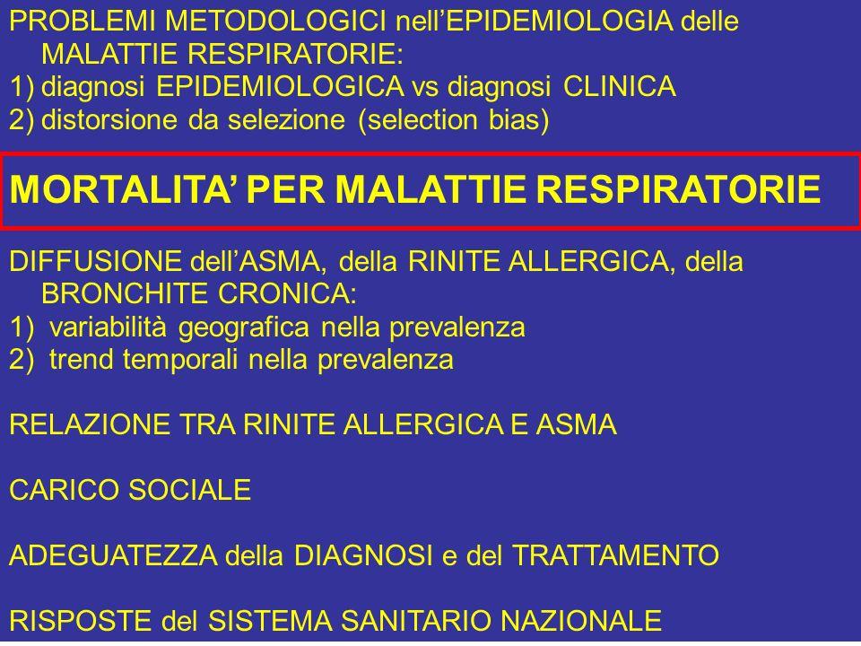 PROBLEMI METODOLOGICI nellEPIDEMIOLOGIA delle MALATTIE RESPIRATORIE: 1)diagnosi EPIDEMIOLOGICA vs diagnosi CLINICA 2)distorsione da selezione (selecti