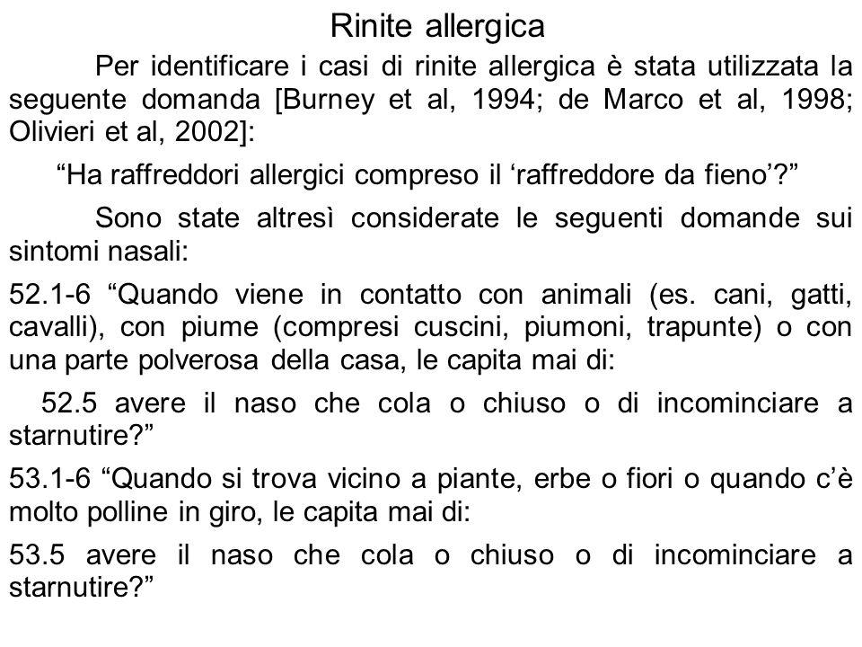 Per identificare i casi di rinite allergica è stata utilizzata la seguente domanda [Burney et al, 1994; de Marco et al, 1998; Olivieri et al, 2002]: H