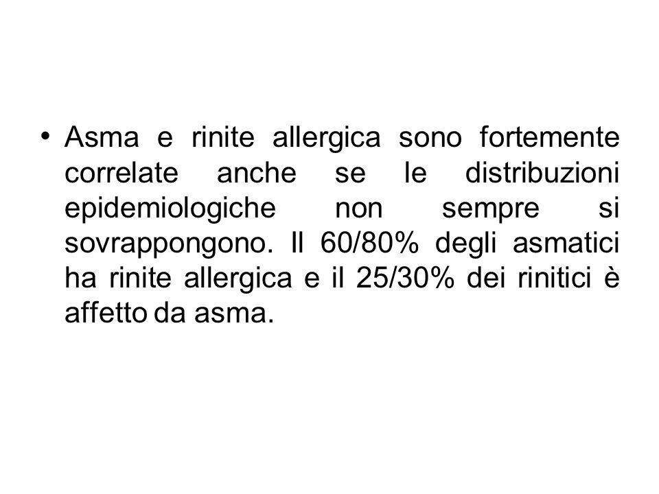 Asma e rinite allergica sono fortemente correlate anche se le distribuzioni epidemiologiche non sempre si sovrappongono. Il 60/80% degli asmatici ha r
