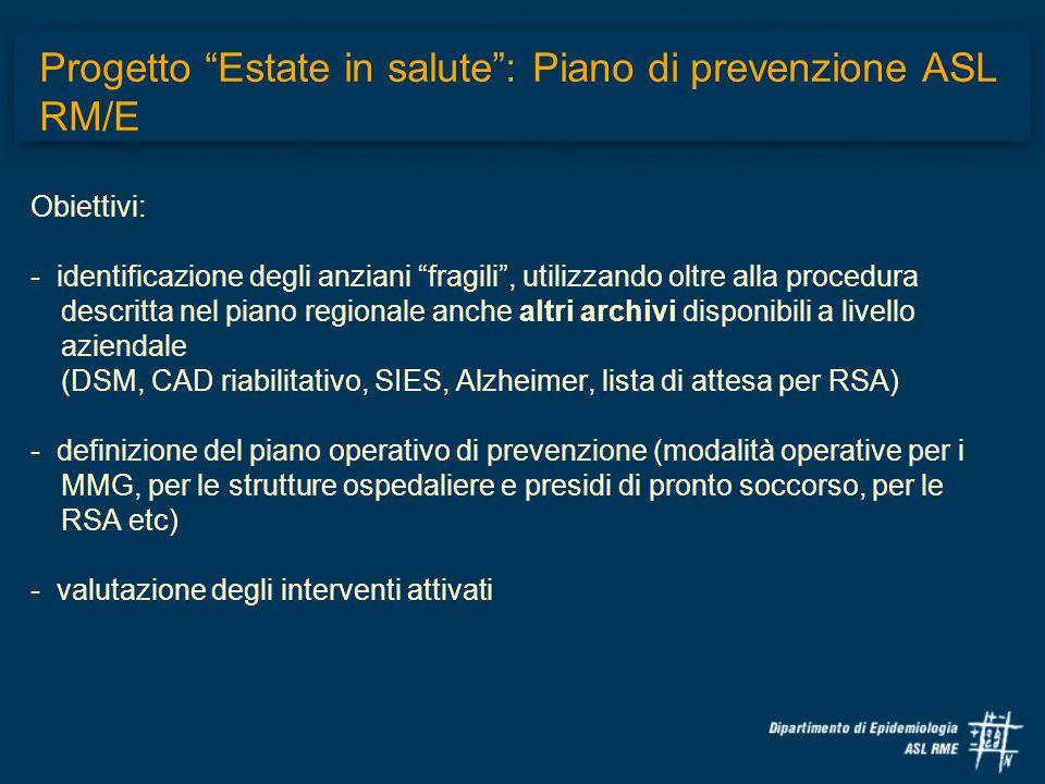 Obiettivi: - identificazione degli anziani fragili, utilizzando oltre alla procedura descritta nel piano regionale anche altri archivi disponibili a l