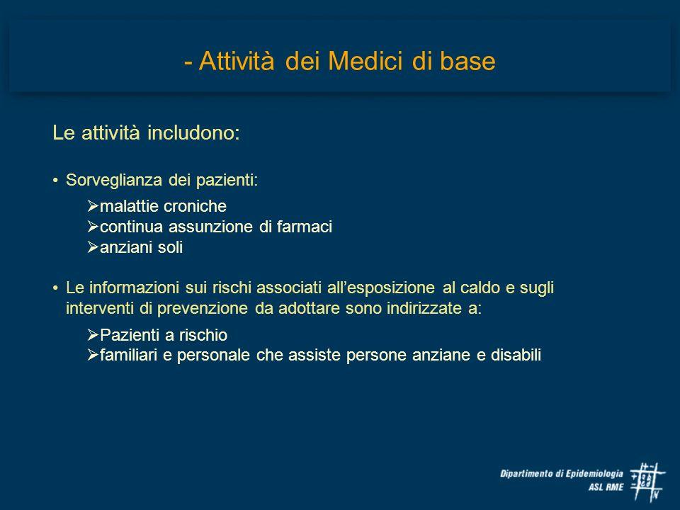 Le attività includono: Sorveglianza dei pazienti: malattie croniche continua assunzione di farmaci anziani soli Le informazioni sui rischi associati a