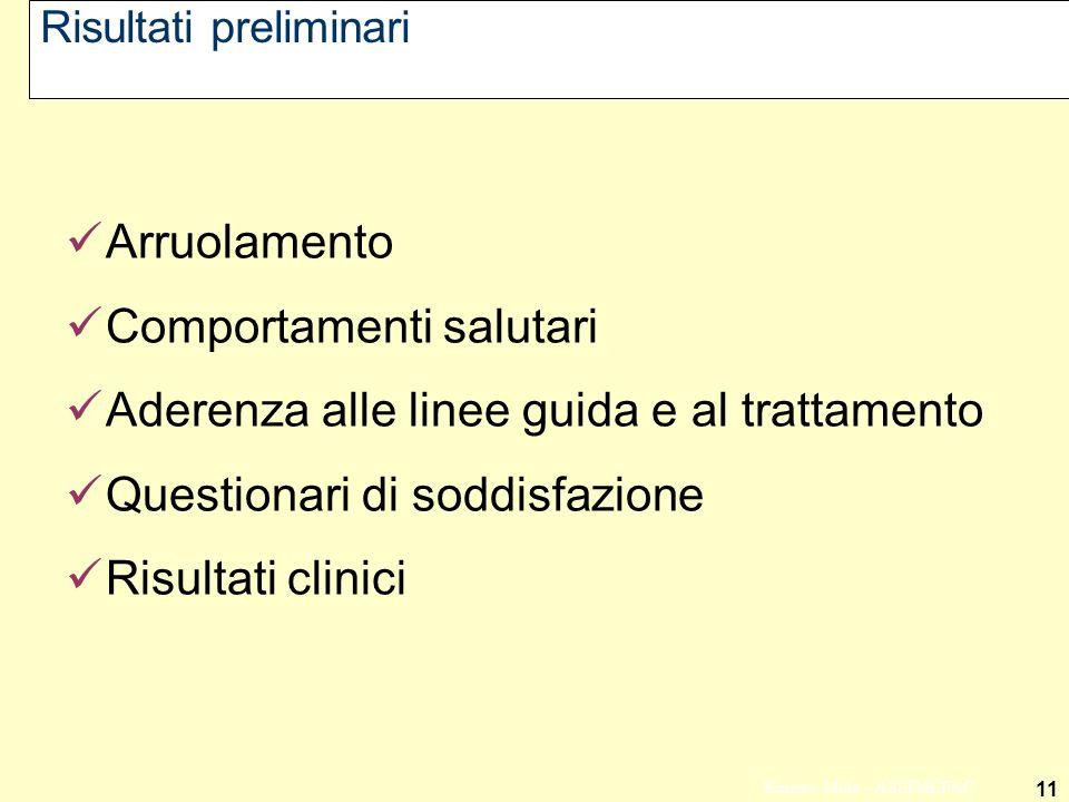11 Ernesto Mola - ASSIMEFAC Risultati preliminari Arruolamento Comportamenti salutari Aderenza alle linee guida e al trattamento Questionari di soddis