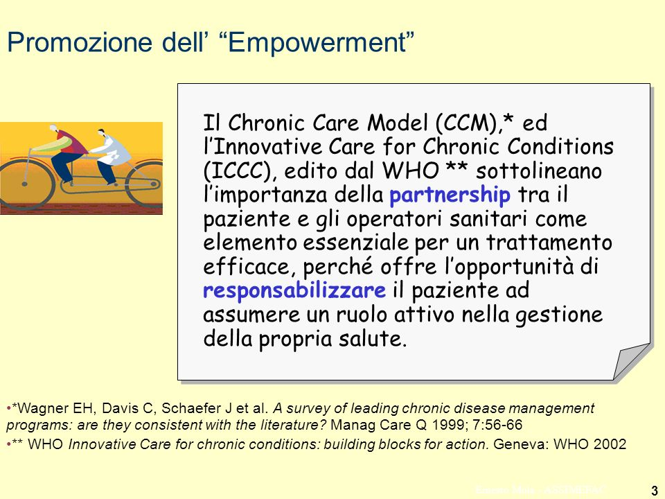 3 Ernesto Mola - ASSIMEFAC Promozione dell Empowerment Il Chronic Care Model (CCM),* ed lInnovative Care for Chronic Conditions (ICCC), edito dal WHO