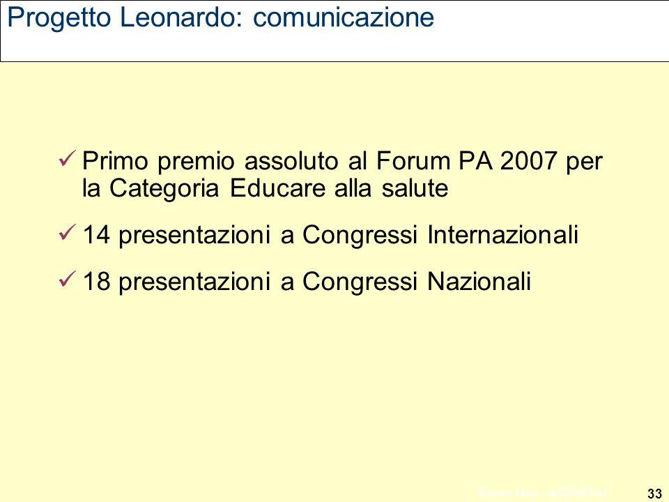 33 Ernesto Mola - ASSIMEFAC Progetto Leonardo: comunicazione Primo premio assoluto al Forum PA 2007 per la Categoria Educare alla salute 14 presentazioni a Congressi Internazionali 18 presentazioni a Congressi Nazionali