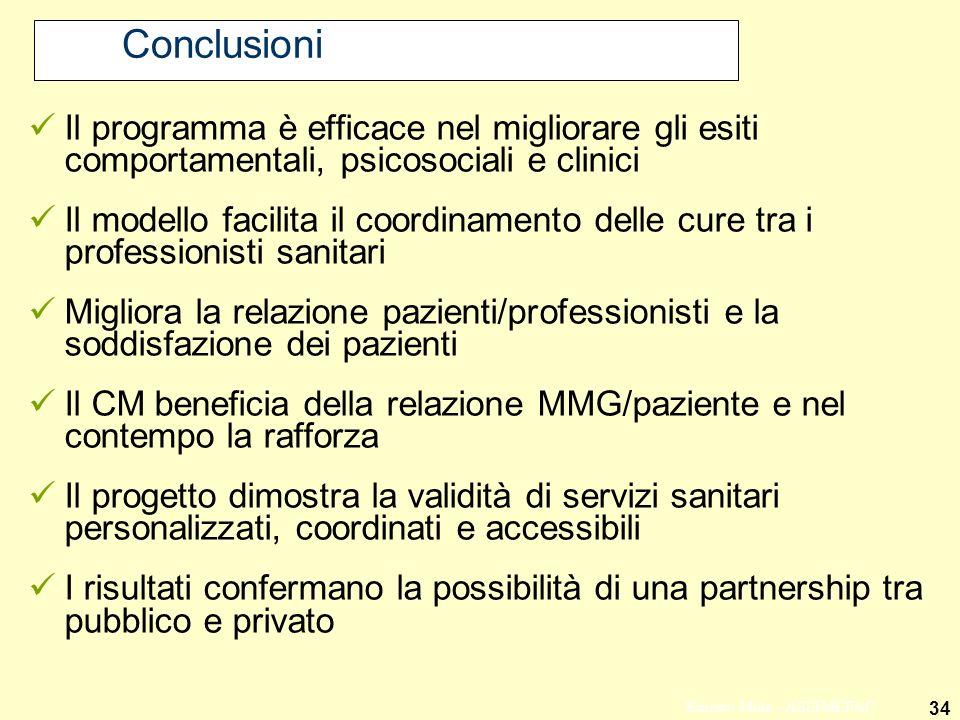 34 Ernesto Mola - ASSIMEFAC Conclusioni Il programma è efficace nel migliorare gli esiti comportamentali, psicosociali e clinici Il modello facilita i