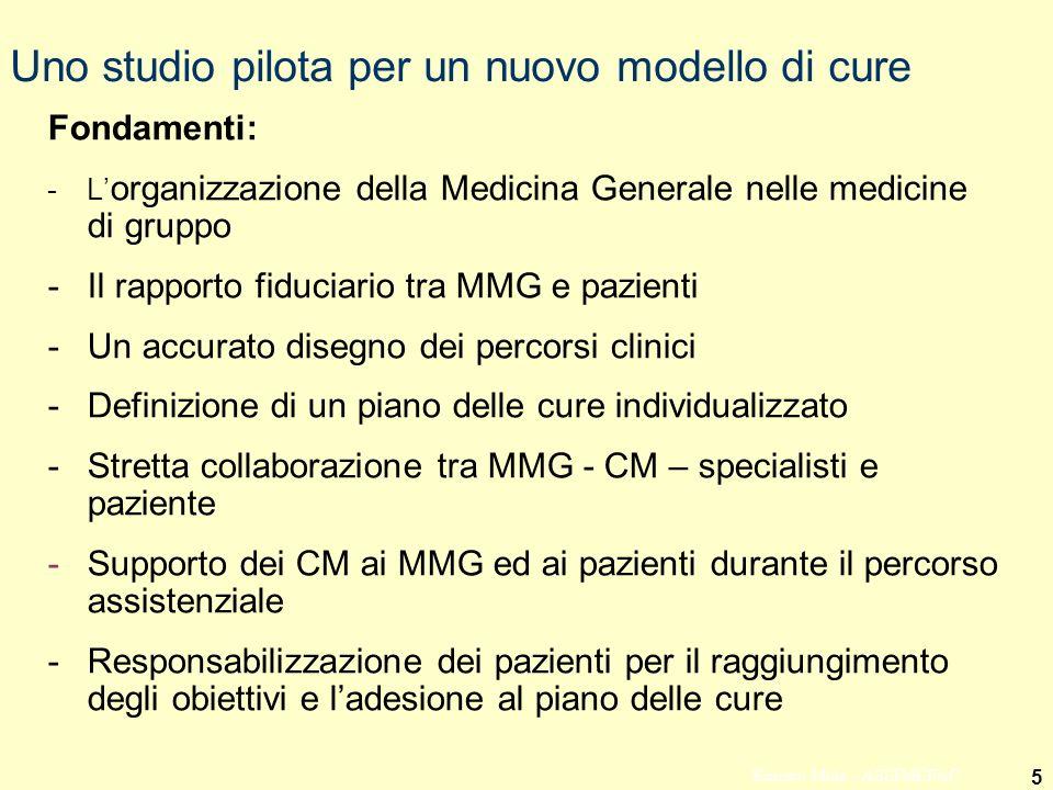 5 Ernesto Mola - ASSIMEFAC Uno studio pilota per un nuovo modello di cure Fondamenti: -L organizzazione della Medicina Generale nelle medicine di grup