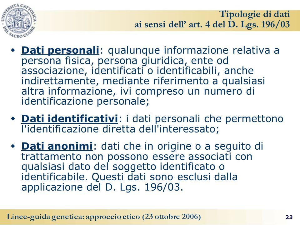 23 Linee-guida genetica: approccio etico (23 ottobre 2006) Tipologie di dati ai sensi dell art. 4 del D. Lgs. 196/03 Dati personali: qualunque informa