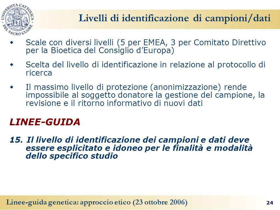 24 Linee-guida genetica: approccio etico (23 ottobre 2006) Livelli di identificazione di campioni/dati Scale con diversi livelli (5 per EMEA, 3 per Comitato Direttivo per la Bioetica del Consiglio dEuropa) Scelta del livello di identificazione in relazione al protocollo di ricerca Il massimo livello di protezione (anonimizzazione) rende impossibile al soggetto donatore la gestione del campione, la revisione e il ritorno informativo di nuovi dati LINEE-GUIDA 15.