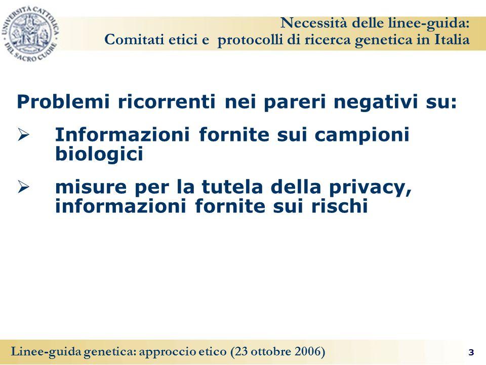 3 Linee-guida genetica: approccio etico (23 ottobre 2006) Necessità delle linee-guida: Comitati etici e protocolli di ricerca genetica in Italia Problemi ricorrenti nei pareri negativi su: Informazioni fornite sui campioni biologici misure per la tutela della privacy, informazioni fornite sui rischi