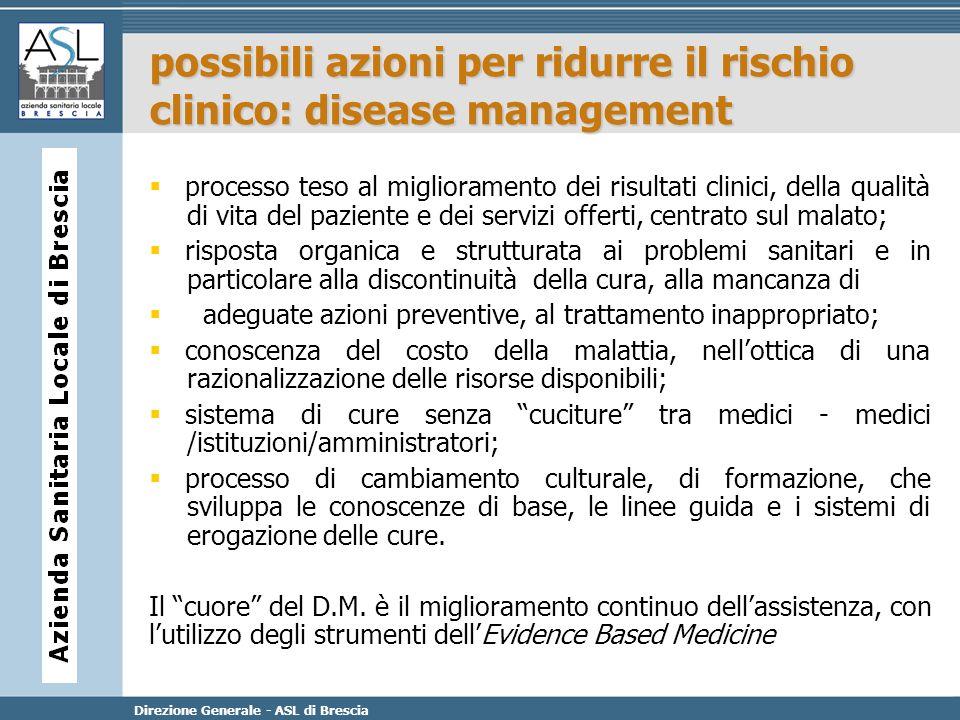 Direzione Generale - ASL di Brescia processo teso al miglioramento dei risultati clinici, della qualità di vita del paziente e dei servizi offerti, ce